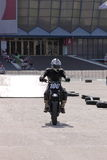 Motorcyclist on track Royalty Free Stock Image