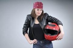 Motorcyclist woman posing Stock Photo
