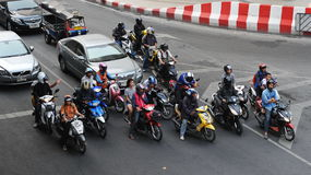 Motorcyclists at a Busy Junction Stock Photo
