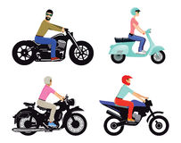 Motorcyclists on different types Stock Photos
