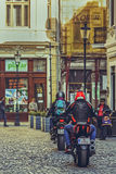 Motorcyclists downtown Royalty Free Stock Photo