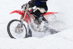 Motorcyclists go on ice in snow. Stock Photography