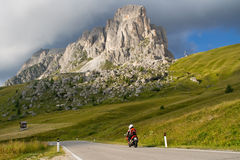 Motorcyclists on mountain pass Royalty Free Stock Images