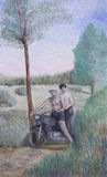 Motorcyclists in nature. An oil painting of two motorcyclists in nature Stock Photo