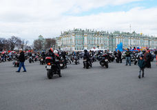 Motorcyclists are preparing to ride around the city Royalty Free Stock Photos