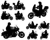 Motorcyclists silhouettes Royalty Free Stock Images