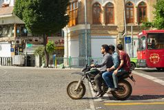 Motorcyclists on Tehran street.  Iran Royalty Free Stock Images