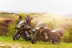 Motorcyclists on tour Royalty Free Stock Image