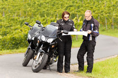 Motorcyclists on tour Stock Images