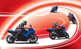 Motorcyclists on the track, red background. vector illustration