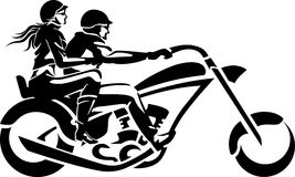 Motorcykel Chopper Couple Ride stock illustrationer