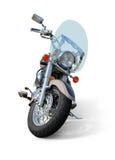 Motorcykel med främre sikt för vindruta som isoleras på vit Royaltyfri Bild