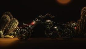 motorcykel Metallleksakmotorcykel på mörk bakgrund royaltyfri fotografi
