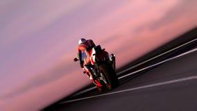 Motorcykel på natten Fotografering för Bildbyråer