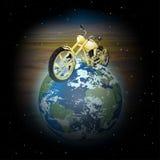 Motorcykel på planetjord Arkivfoto