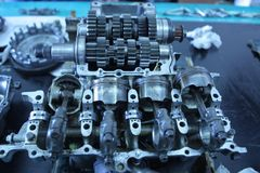 Motorcykelbensin tankade motorn Arkivfoton