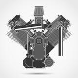 Motorcykelbensin tankade motorn vektor Royaltyfri Fotografi