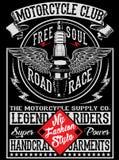Motorcykeletikettt-skjorta design royaltyfri illustrationer