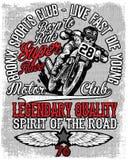 Motorcykeletikettt-skjorta design med illustrationen av beställnings- kotlett Arkivbild