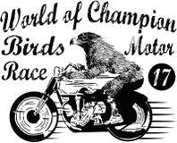 Motorcykeletikettt-skjorta design med illustrationen av beställnings- kotlett Arkivfoton