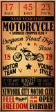 Motorcykeletikettt-skjorta design med illustrationen av beställnings- kotlett Arkivfoto