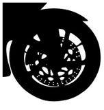 Motorcykelframhjuldetalj Fotografering för Bildbyråer