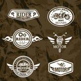 Motorcykelgrungeetiketter Arkivbild