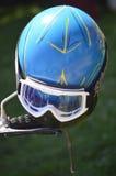 Motorcykelhjälm med skyddsglasögon Royaltyfri Bild