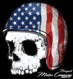 Motorcykelhjälm med amerikanska flaggan med skallevektordiagram f Royaltyfri Fotografi