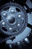Motorcykelkedja och tandhjul Arkivbild