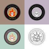 Motorcykelklubba Logo Vector Set Mapp eps10 royaltyfri illustrationer