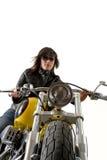 motorcykelkvinnabarn royaltyfria foton