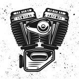 Motorcykelmotor, v-tvilling- motoriskt vektorobjekt Stock Illustrationer