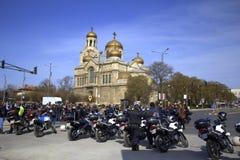 Motorcykelpolisen bevakar offentlig händelse Royaltyfri Fotografi