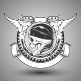 Motorcykelskalleemblem Stock Illustrationer