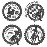 Motorcykelsportetiketter Fotografering för Bildbyråer