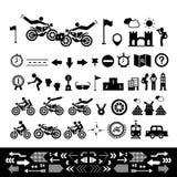 Motorcykelsymboluppsättning Fotografering för Bildbyråer