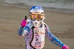 Motorcykeltävlingsförare Gregory Laguta Fotografering för Bildbyråer