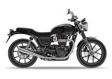 Motorcykelvektor, realistisk illustration Svart mopedhalva-framsida med många detaljer på en vit bakgrund Arkivfoto
