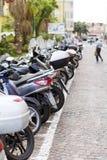 Motorcyklar i staden av San Remo, Italien royaltyfria foton