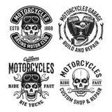 Motorcyklar ställer in vektoremblem, märker eller förser med märke Stock Illustrationer