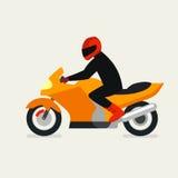 Motorcyklist på en motorcykelvektorillustration Vektor Motorbi stock illustrationer