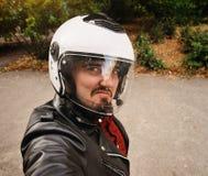 Motorcyklist Selfshot Fotografering för Bildbyråer