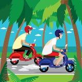 Motorcyklister på de retro sparkcyklarna Arkivfoton