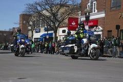 Motorcyle警察,圣帕特里克的天游行, 2014年,南波士顿,马萨诸塞,美国 免版税库存照片