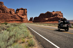 Motorcyle in Arches National Park Royalty Free Stock Photography