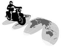 Motorcyle rider globe Royalty Free Stock Photos