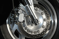Motorcyle Wheel Close Up. Close up view of a modern motorcyle wheel Royalty Free Stock Photos
