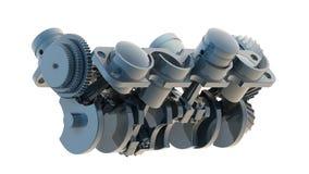 Motore 3D del V8 isolato su 3d bianco Immagine Stock Libera da Diritti