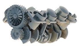 Motore 3D del V8 isolato su 3d bianco Immagini Stock
